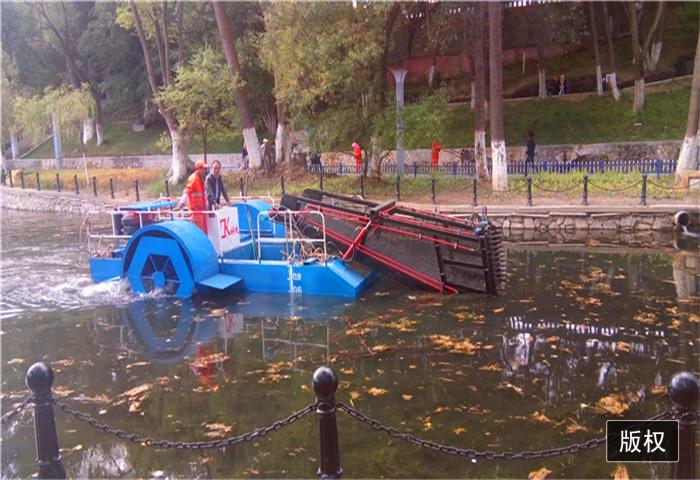 社区清理河道内垃圾船