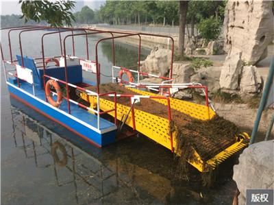公园水面芦苇清理船